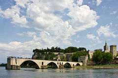 Avignon's Bridge and Palace of the Popes Royalty Free Stock Image