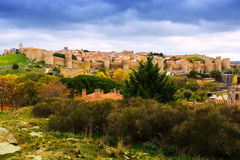 View of Avila with  town walls in autumn Stock Photography