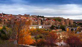 View of Avila with  town walls in autumn Royalty Free Stock Photos