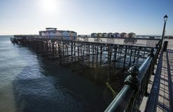 View of the award-winning Hastiings Pier in East Sussex, England. After the old pier burned, it was decided to renew it with a modern design which was totally royalty free stock images