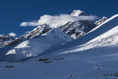 View of the Awi Peak from Dingboche Stock Photography