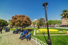 View of Aya Sofia through the Sultanahmet square. ISTANBUL, TURKEY: View of Aya Sofia through the Sultanahmet square in spring time on APRIL 12, 2018 stock photography