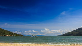 view of azure sea islands tourist motorboat passes by stock footage
