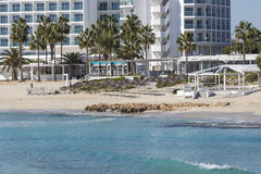 A view of a azzure water and Nissi beach in Aiya Napa, Cyprus Royalty Free Stock Photo