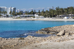 A view of a azzure water and Nissi beach in Aiya Napa, Cyprus Royalty Free Stock Images