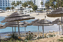 A view of a azzure water and Nissi beach in Aiya Napa, Cyprus Royalty Free Stock Photos