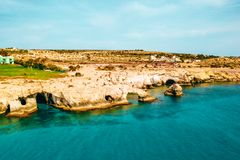 A view of a azzure water and Nissi beach in Aiya Napa, Cyprus. November 10, 2018. Ayia Napa, Cyprus. A view of a azzure water and Nissi beach in Aiya Napa royalty free stock image