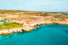 A view of a azzure water and Nissi beach in Aiya Napa, Cyprus. November 10, 2018. Ayia Napa, Cyprus. A view of a azzure water and Nissi beach in Aiya Napa stock images