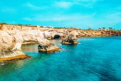 A view of a azzure water and Nissi beach in Aiya Napa, Cyprus. November 10, 2018. Ayia Napa, Cyprus. A view of a azzure water and Nissi beach in Aiya Napa royalty free stock photography
