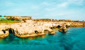 A view of a azzure water and Nissi beach in Aiya Napa, Cyprus. November 10, 2018. Ayia Napa, Cyprus. A view of a azzure water and Nissi beach in Aiya Napa royalty free stock photos