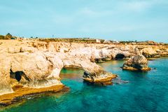 A view of a azzure water and Nissi beach in Aiya Napa, Cyprus. November 10, 2018. Ayia Napa, Cyprus. A view of a azzure water and Nissi beach in Aiya Napa royalty free stock images