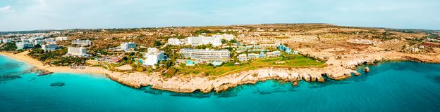 A view of a azzure water and Nissi beach in Aiya Napa, Cyprus. November 10, 2018. Ayia Napa, Cyprus. A view of a azzure water and Nissi beach in Aiya Napa stock photography