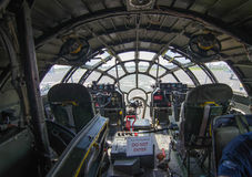 View from B-29 Cockpit Interior. The view from a B-29 WWII era bomber cockpit, part of the Commemorative Air Force Royalty Free Stock Photos