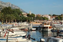 View of Baška Voda in Croatia. Baška Voda, Croatia. View of promenade royalty free stock photography