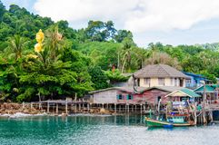 View of Baan Ao Salad port and fishing village on Koh Kood Island, Thailand Stock Image