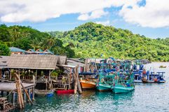 View of Baan Ao Salad port and fishing village on Koh Kood Island, Thailand Stock Images