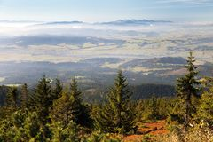 View from Babia gora or Babi Hora to Slovakia. Poland and Slovakia border royalty free stock image