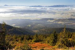 View from Babia gora or Babi Hora to Slovakia. Poland and Slovakia border stock image