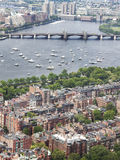 View of Back Bay Boston at 4th of July. A view from prudential overlooking Charles and Cambridge. At the 4th pf July Charles river fills up of happy boaters Stock Photo