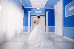 View from the back The bride in a wedding dress with a long lace train goes around the room with high ceilings and blue stock images