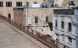 Back of old buildings in an alley way from an elevated level. stock photos
