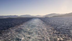 A view from the back of a cruise ship Royalty Free Stock Photo