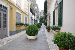 View of back lane in Leal Senado Square in Macau Royalty Free Stock Photography