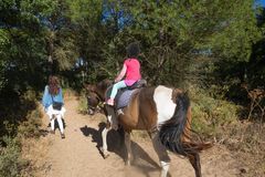 View from back of little child riding a horse next to her mother in a forest stock photos