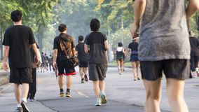 View of back of people run and walk at pedestrian garden park. The view of back of people run and walk at pedestrian garden park Stock Photo