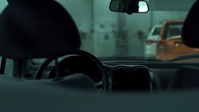 View from the back seat inside the vehicle stock footage