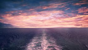 View From Back Of Ship At Sunset stock video