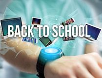 Back to school title surounded by device like smartphone, tablet. View of a Back to school title surounded by device like smartphone, tablet or laptop - Internet Stock Photos