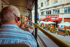 View from back of the top deck on Budapest Sightseeing bus with Royalty Free Stock Image