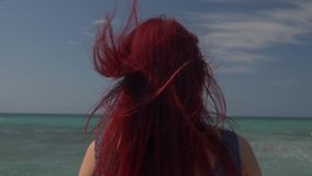 View of the back of a woman with red hair flying in the wind against the backdrop of the sea surf.  stock footage