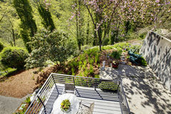 View of the back yard from the balcony of second floor. Royalty Free Stock Photo