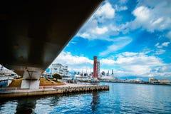 Under bridge look through kobe port tower japan royalty free stock photography