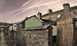 View of a backstreet terrace royalty free stock photos