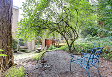 View of backyard patio area from a garden hill Royalty Free Stock Image