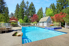 View of backyard with swimming pool Royalty Free Stock Photos