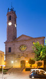 View of Badalona. Church of Santa Maria in evening Stock Photo