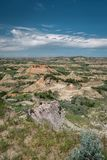 View of a badland area in Theodore Roosevelt National Park in North Dakota royalty free stock images