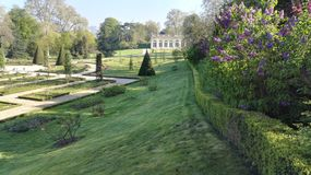 View of Bagatelle Park at spring with the Orangery building in the background, Paris, France, Europe stock image