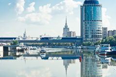 View on Bagration Bridge through Moskva river Royalty Free Stock Photo