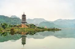 View of the Bai Dinh temple complex at Trang An, Vietnam royalty free stock images