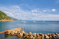 View of Baia Blu, hidden cove near the 5 Terre and Lerici Royalty Free Stock Photo