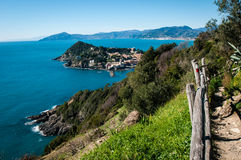View of `baia del silenzio` in sestri levante genoa on a blue sky background stock images