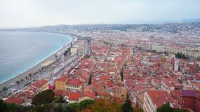 Beautiful view of the Promenades des Anglais. View of the Baie des Anges and Promenade des Anglais stock images