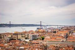 A view of Baixa de Lisbon from Castelo de São Jorge. A collection of rooftops in seen from Castelo de São Jorge Stock Photo