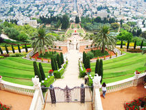 View of the Bakhaysky garden. And city Haifa Royalty Free Stock Image