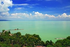 View of Balaton lake from Tihany abbey stock photos
